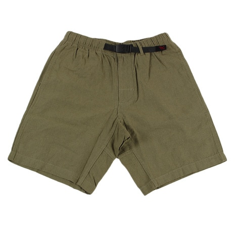 COTTON-LINEN ZIPPER SHORTS GMP-17S013-OLIVE