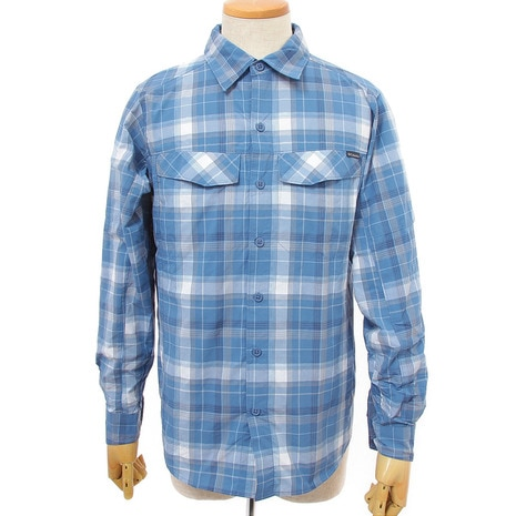 Silver Ridge Plaid Long Sleeve Shirt AE7441 417 Steel Window Pane