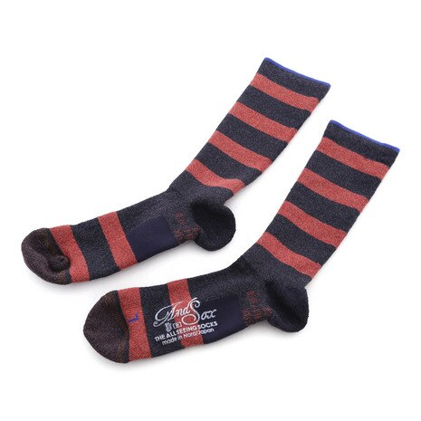 SUPPORT PILE CREW STRIPE M 靴下 ASSMSCP2157 NAVY RED