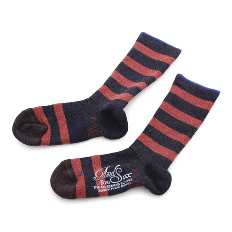 SUPPORT PILE CREW STRIPE S 靴下 ASSSSCP2156 NAVY RED
